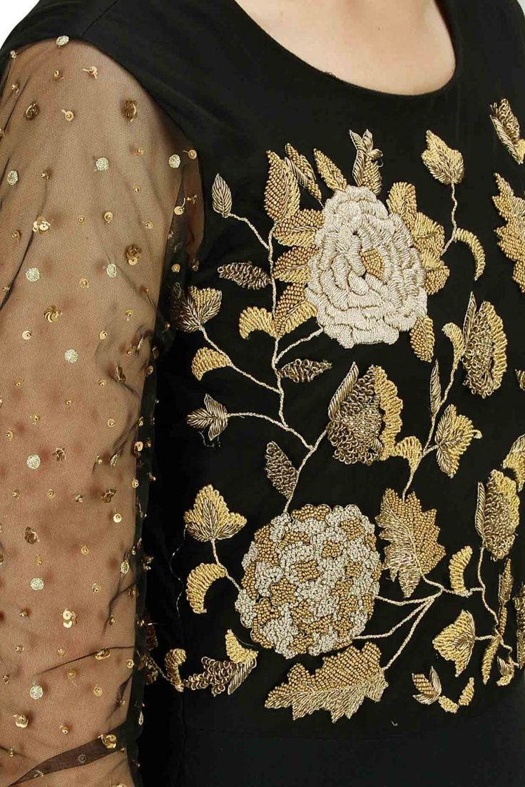 BHUMIKA SHARMA Black gold rose embroidered flared gown available only at Pernia's Pop-Up Shop.