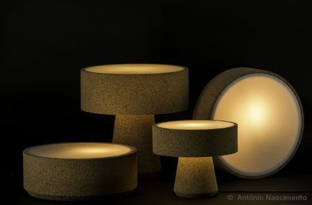 Luz – a family of multipurpose lamps made of cork agglomerate with opals in acrylic by GPOD