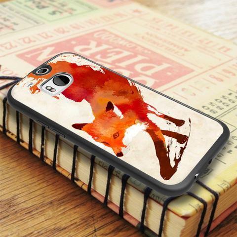 Red Fire Fox Art HTC One M8 Case