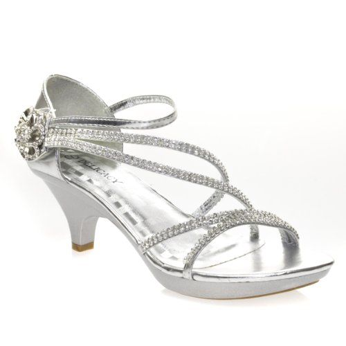 Delicacy Womens ANGEL48 Open Toe Rhinestones Med Low Heel Party Sandal, Silver PU Leather, 8 B (M) US