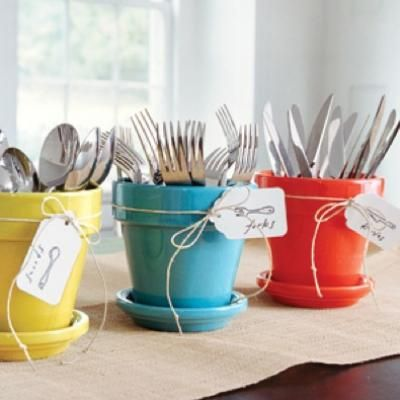 Love this idea for displaying silverware at a party! I always just throw them in drinking glasses at the last minute :) via http://party.tipjunkie.com/