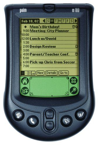 PalmOne m100 Handheld 2 MB memory stores hundreds of addresses, phone numbers, appointments, and to-do items. Exchange and back up data with your PC or Macintosh using 1-touch synchronization. Synchronize with Palm Desktop software; also includes link to Microsoft Outlook. Includes one-touch clock and Note Pad application for writing sticky notes on screen. Add optional keyboard, backup module, ... #Palm #CE