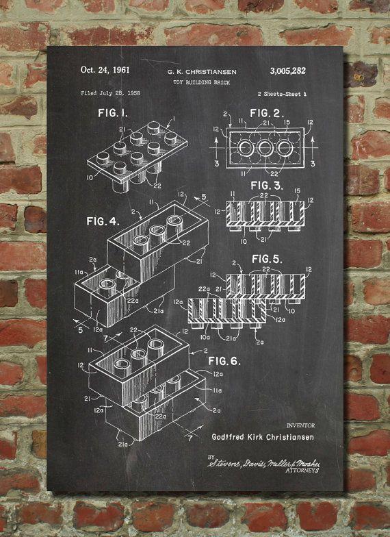 Lego Toy Building Blocks Patent Wall Art Poster door PatentPrints