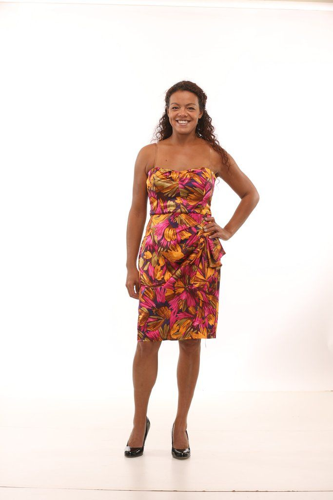 London Times Multi Coloured Floral Strapless Cocktail Dress Size 12