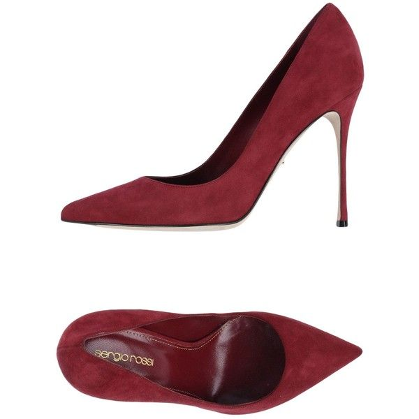 Sergio Rossi Pump ($410) ❤ liked on Polyvore featuring shoes, pumps, maroon, heels stilettos, leather footwear, real leather shoes, sergio rossi shoes and leather shoes