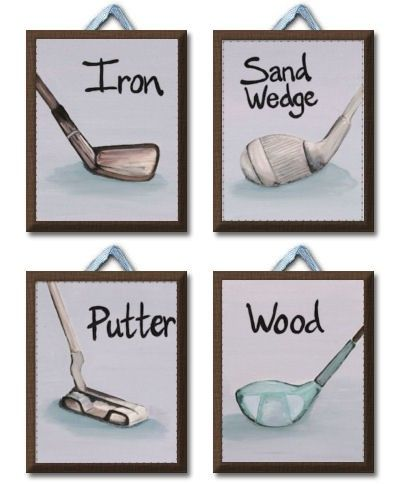Vintage Golfer Set of 4 Giclee Canvas nursery art for kids room by art4theLITTLEpeople on Etsy