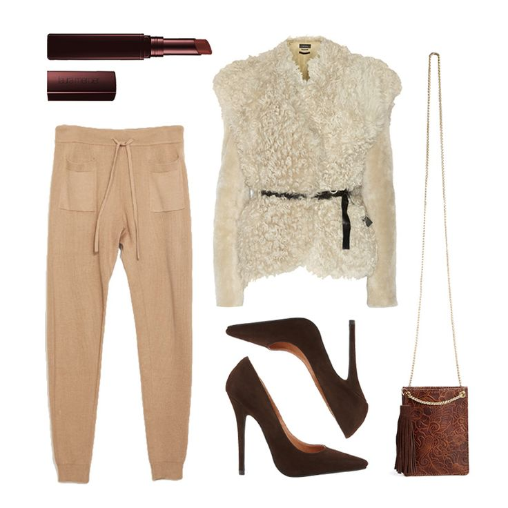 Sweatpants work for dinner & drinks when paired with a shearling jacket, brown pumps, and a berry lip.