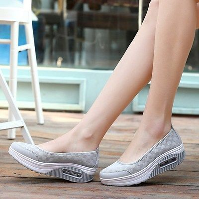 Fitness Mujer Caminar Tonificación Zapatos Tacón Plataforma Zapatillas Creeper