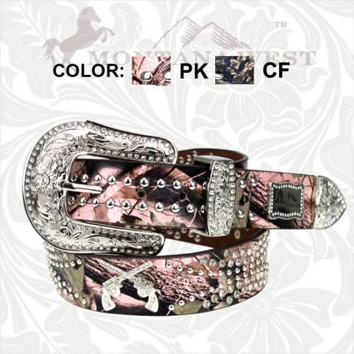 country western cowgirl belts | ... BELT Silver Rhinestone Sixshooter N Studded Camo Leather Western Belt