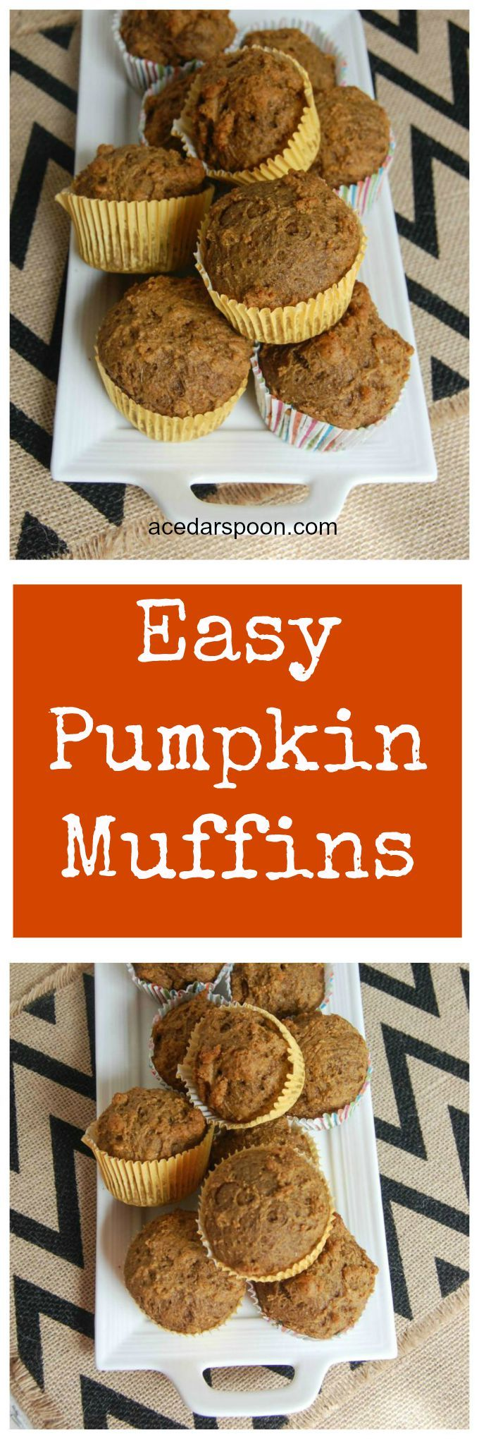 Easy Pumpkin Muffins are a healthier take on your favorite pumpkin muffins using Greek yogurt and whole wheat flour. You can feel good feeding these to your family and kids. //A Cedar Spoon