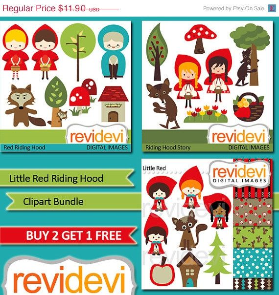 55 OFF Instant Download Clipart Bundle.. Little Red by revidevi, $5.36