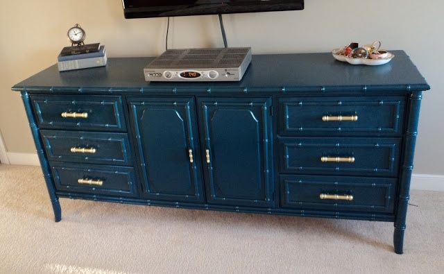 Bamboo dresser spray painted with Rustoleum Night Tide. Gorgeous color that looks perfect with brass