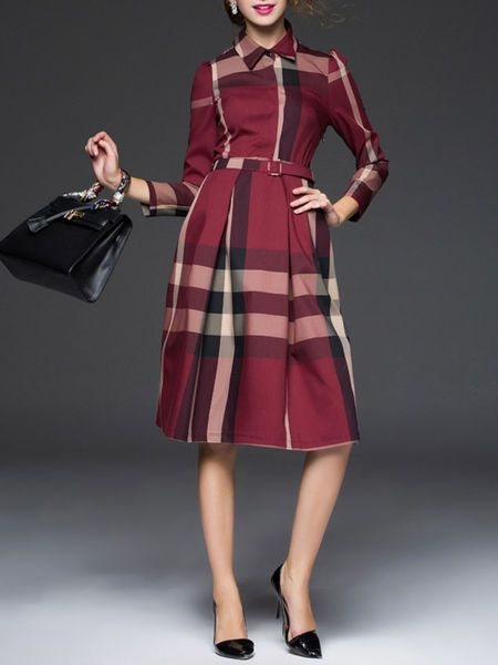Plaid Belted Midi Dress by Zeraco
