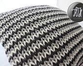 Handmade knitted pillow white, gray and dark gray