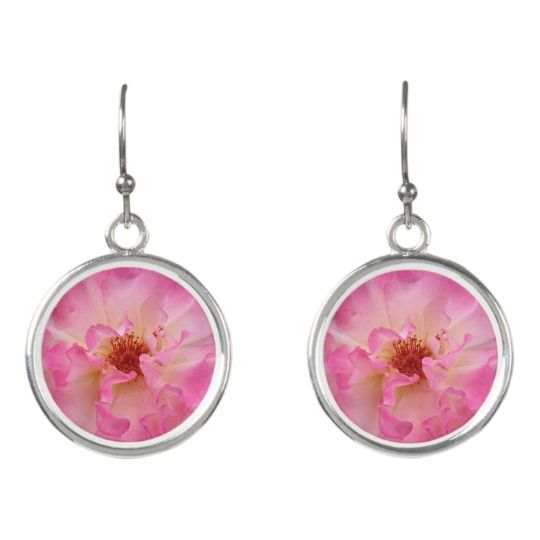 Pink Rose Drop EarringsPink Rose Silver Plated Charm Bracelet by www.zazzle.com/htgraphicdesigner* #zazzle #gift #giftidea #pink #rose #earrings