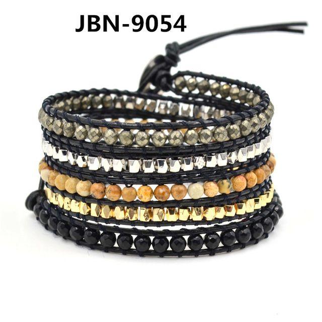 Натуральный камень бусины браслет ручной работы кожа многослойные браслеты и браслеты браслет браслет манжета для мужчин JBN-9054
