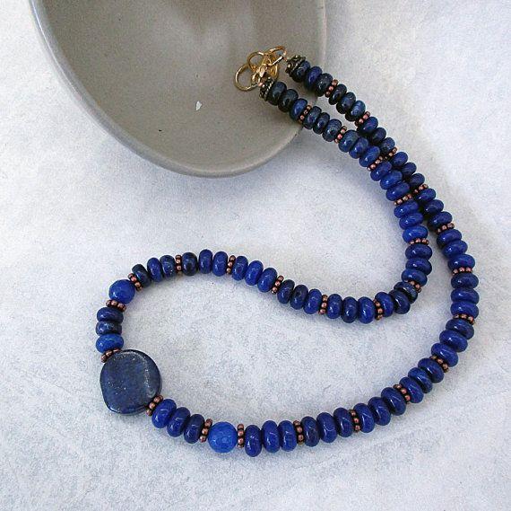 Handmade Beaded Necklace Gemstone Beads Semi Precious Lapis