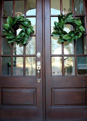 Double doors with Magnolia Wreaths - Ingredients for making a beautiful realistic looking affordable magnolia wreath