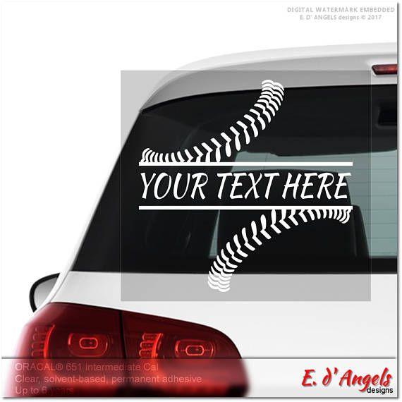 Baseball stitches monogram car decal car decals for men