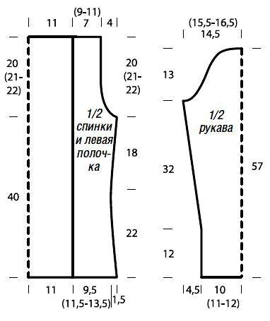 Схема вязания кардиган с асимметричной длиной раздел вязание спицами для женщин кофты спицами женские