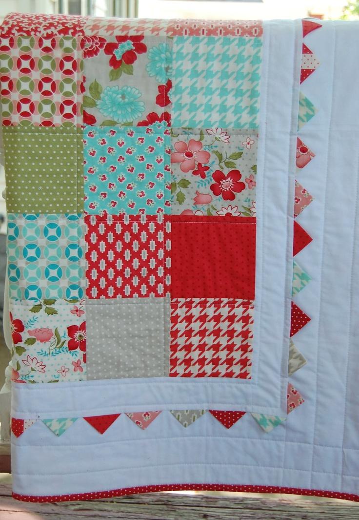 Vintage Modern Baby Quilt Patchwork Quilt Baby Blanket