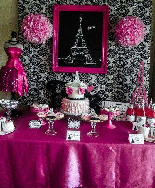 75 best fiestas tema rosa e preto images on pinterest - Decoracion fiesta rosa ...