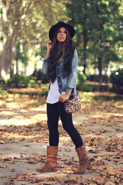 Cognac boots and cute denim jacket. Pair it with black jeans/leggings and simple white shirt!