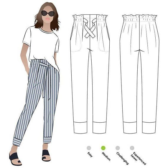 Tully 7/8th Paperbag Pant - Sizes 16, 18, 20 - PDF sewing pattern for printing at home by Style Arc - Instant Download 1