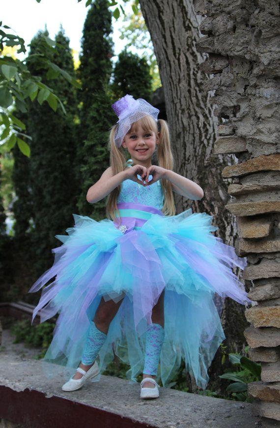 Lilac Blue Flower Girl Dress  Tutu Birthday Holiday Aqua Blue