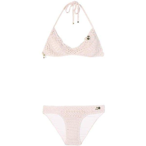 Stella McCartney Crochet-Knit Bikini ($180) ❤ liked on Polyvore featuring swimwear, bikinis, bikini, beachwear, neutrals, knit swimwear, crochet bikini, knit bikini, bikini beachwear and macrame swimwear