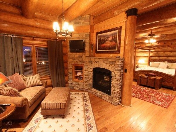 Magnificent Custom Log Home Master Bedroom With Sitting