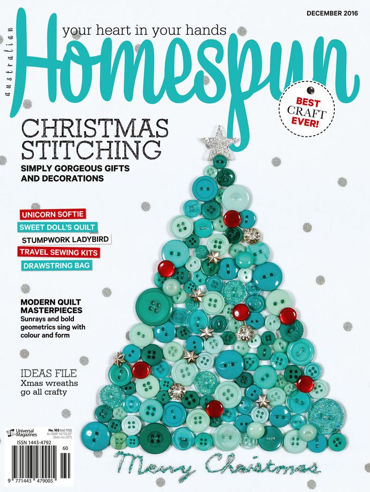 Australian Homespun magazine December 2016 issue on sale now - available from shops Australia wide, or as a digital mag through www.zinio.com