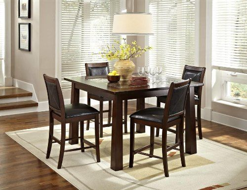 Granita 5 Piece Dining Table Set With Devera Stools By American Heritage 104975 Oversized