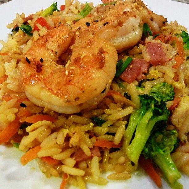 arroz integral con camarones