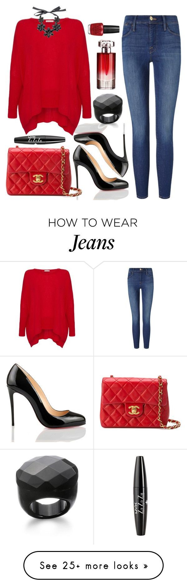 """Untitled #3132"" by natalyasidunova on Polyvore featuring Christian Louboutin, Century Seven, Frame Denim, Chanel, Kenneth Jay Lane, NYX, Lancôme and OPI"