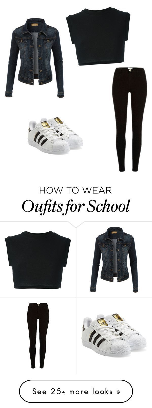 #school #outfitideas by marysfashionn on Polyvore featuring adidas  Originals and LE3NO - amzn.