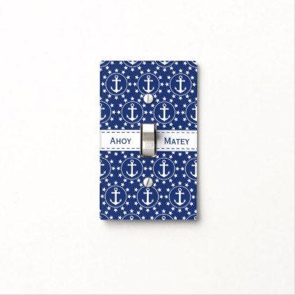 White Anchors and Stars on Navy Nautical Pattern Light Switch Cover - patterns pattern special unique design gift idea diy