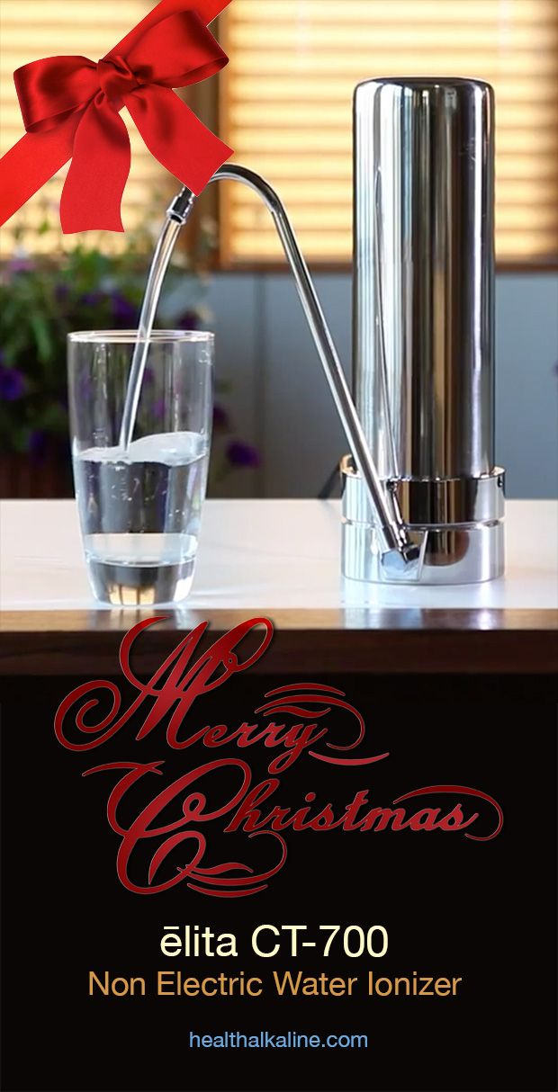 Give Healthy, Cleanest Alkaline Water to drink this Christmas. ēlita CT-700 Non Electric Water Ionizer equipped with the best alkaline water filter, MADE IN THE USA!