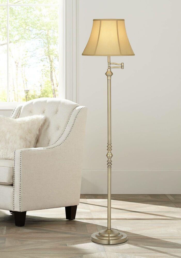 Antique Brass Floor Lamp Swing Arm Bell Lamp Shade For Living Room Reading Affilink Lamps Brass Floor Lamp Traditional Floor Lamps Antique Brass Floor Lamp