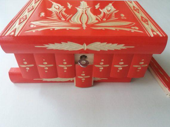 Neue moderne rote versteckten Fach Valentinstag Geschenkbox, geheime magische Puzzlebox, Schmuck-Box aus Holz Veranstalter Box Geschenk für ihre Freundin Frau