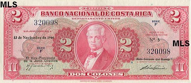 1948, anverso, José Joaquin Vargas Calvo. 2 colones.