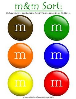 Could have them sort out the m&m's and then talk about the senses they used (touch, sight).