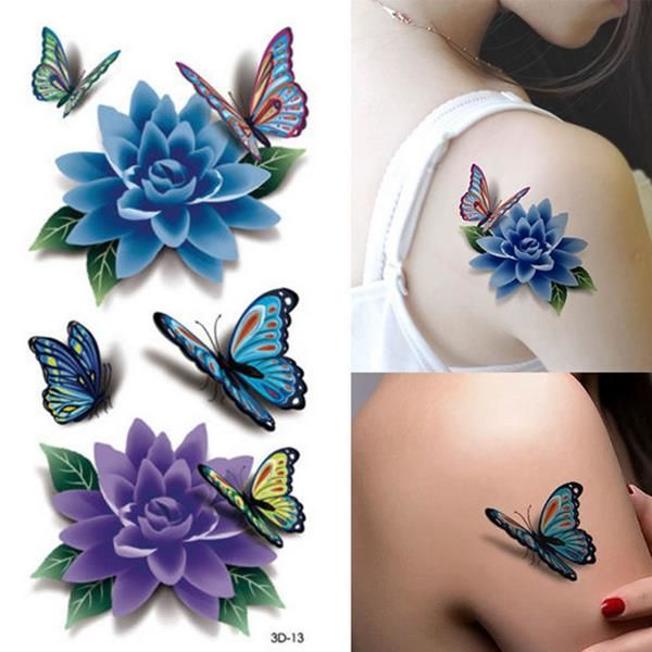 Colorful 3D Butterfly Flower Rose Tattoo Sticker Waterproof Temporary Decal DIY Body Art at Banggood