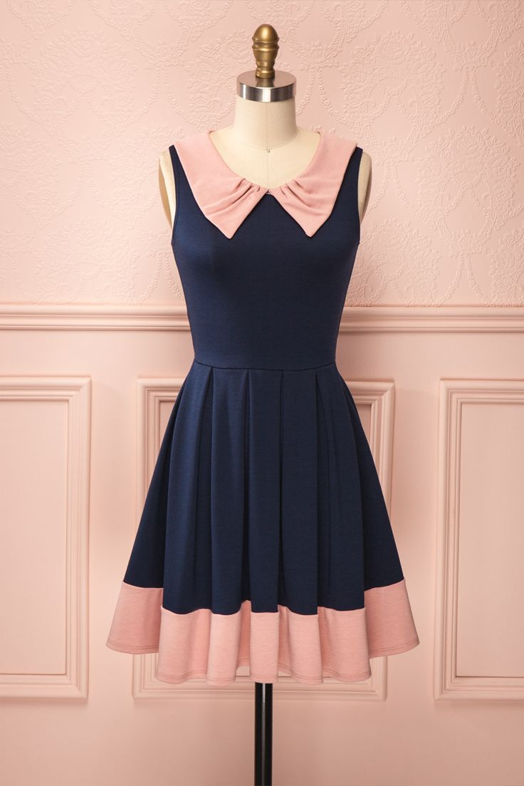 Sakura - Navy blue dress with pink collar and fringe