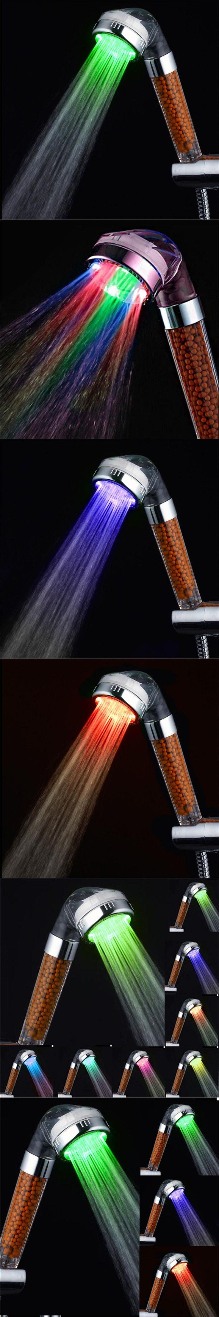 Free Shipping Led shower Tourmaline SPA Anion Hand Held Bathroom Led Shower Head Filter Hand Shower Pressurize Saving Water