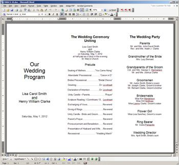 "free printable wedding programs templates | The template is oriented in ""landscape"" mode as opposed to ..."