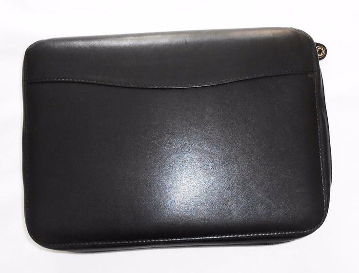 "Franklin Covey Black Compact Nappa Leather Zip Binder 1.25"" Ring Planner  #FranklinCovey"
