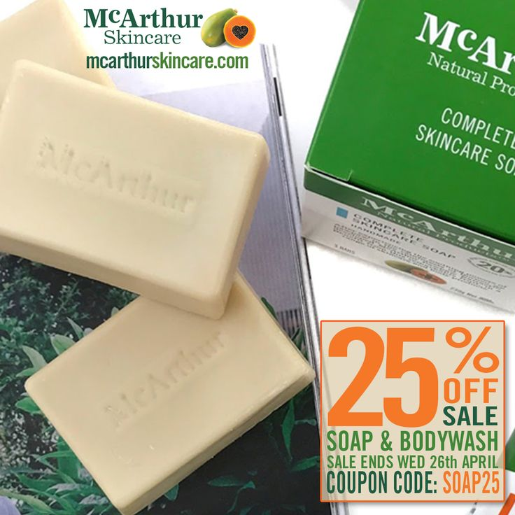 25% OFF McArthur Skincare Soap & Bodywash  After the launch of the recent blog post by Kelsie from WellnessbyKels.com who talks about her experience using our McArthur Skincare Complete Skincare Soap, we have decided to offer a special deal this week on both our soap and body wash products – save a massive 25% OFF online using the coupon code: SOAP25 at the final stage of checkout.  BUY NOW: http://mcarthurskincare.com/products/?pcat=soaps-washes  This offer is not available in conjunction…