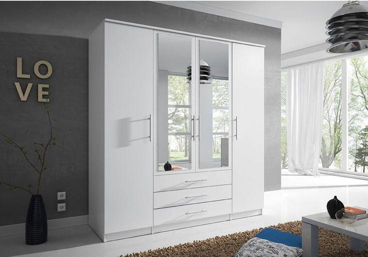 Kleiderschrank Schlafzimmerschrank Chantal Weiß 200 cm 4 ...