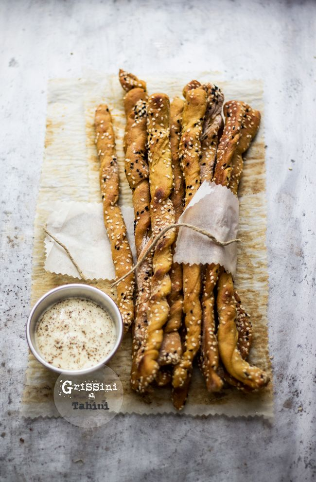 breadsticks with tahini sesame seeds and nigella